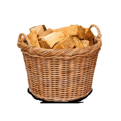 drewno w koszu przełupane szuszone do kominków lublin